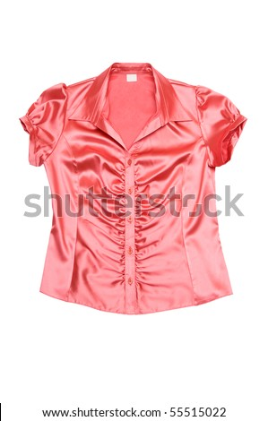 Wonderful red shimmering blouse isolated on a white background. - stock photo