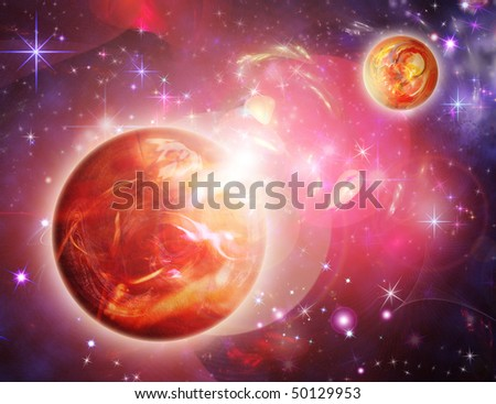 wonderful red space with planets - stock photo