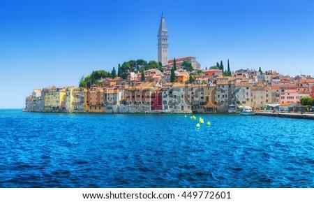 Wonderful romantic old town at Adriatic sea. Harbour in magical summer. Rovinj. Istria. Croatia. Europe. - stock photo