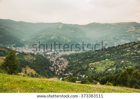 Wonderful scenery of a town in the Carpathian mountains - stock photo