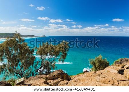 Wonderful sea as seen from Cliffs on Fraser Island, Australia - stock photo