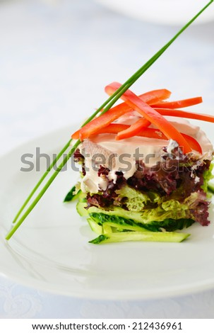 Wonderful served salad with pepper and greens