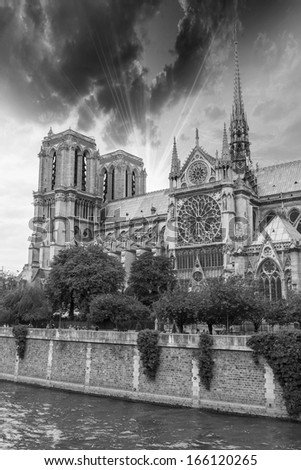Wonderful sky on Notre Dame Cathedral, Paris.