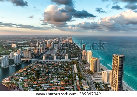 Wonderful skyline of Miami at sunset, aerial view. - stock photo