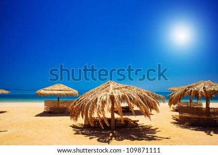 Wonderful solar beach in the Egypt. - stock photo