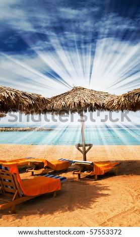 Wonderful solar beach in the Egypt. - stock photo