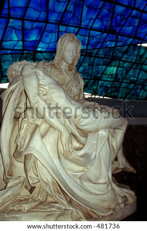 Wonderful Statue in the Modern Cathedral of Brasilia, the capital of Brazil - stock photo