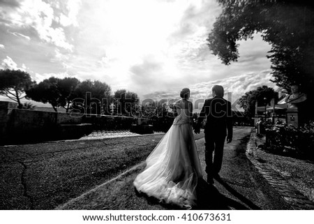 wonderful stylish cute bride and groom under trees walking through the streets of Rome, Italy background cloudy  sky black and white - stock photo