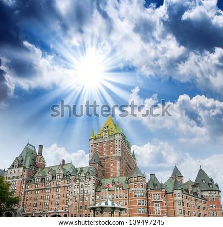 Wonderful summer view of Quebec City Castle - Chateau de Frontenac: - stock photo