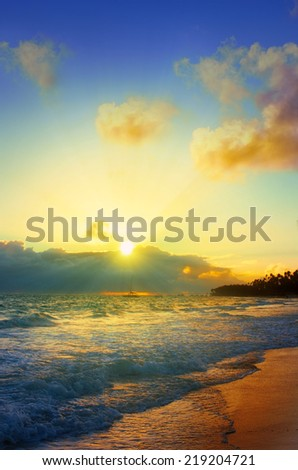 Wonderful sunrise in the Caribbean. - stock photo