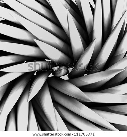 wonderful three dimensional black and white lighted spiky swirl shaded  shape as tile pattern backdrop - stock photo