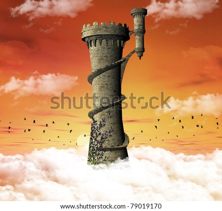 Wonderful tower over the clouds - stock photo