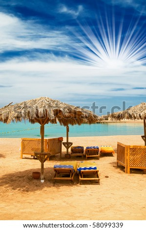 Wonderful tropical beach in the Egypt. - stock photo