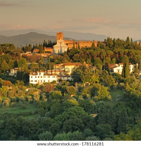 wonderful tuscan landscape in sunset light  with San Miniato al Monte, Florence - stock photo