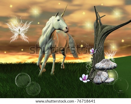 wonderful unicorn gallops through an enchanted world - stock photo