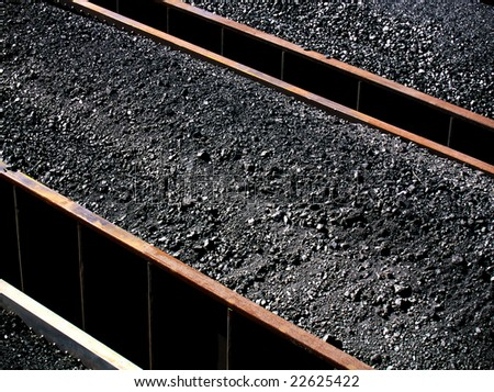 Wonderful vertical and diagonal lines in this coal car abstract - stock photo