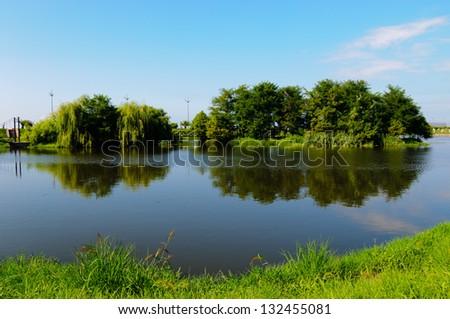 Wonderful view of Ardagani lake - stock photo