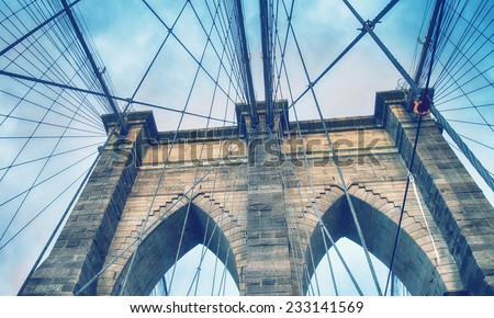 Wonderful view of Brooklyn Bridge on a summer sunset. - stock photo
