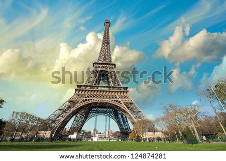 Wonderful view of Eiffel Tower in all its magnificence - Paris.
