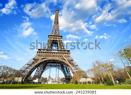 Wonderful view of Eiffel Tower in all its magnificence - Paris. - stock photo