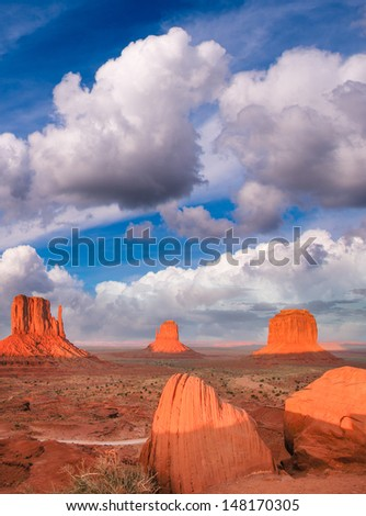Wonderful view of famous Buttes of Monument Valley at sunset, Utah, USA. - stock photo