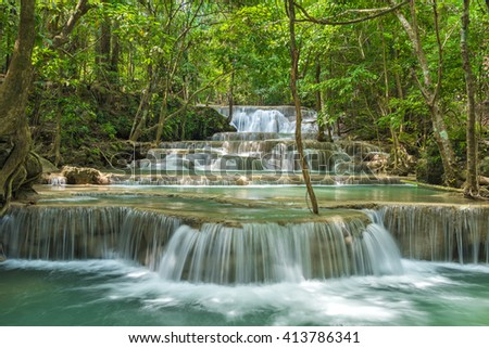 Wonderful waterfall in Kanjanaburi Province, Thailand