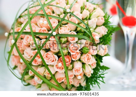 Wonderful wedding luxury bouquet of roses. - stock photo