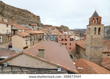 Wonderful winter in snowfall day. Allepuz village in Teruel Aragon Spain - stock photo