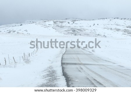 wonderful winter in snowfall day. Gudar mountains in Teruel Aragon Spain - stock photo