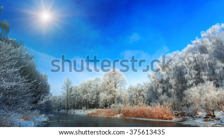 wonderful winter scene. fascinating scenery. frosty winter morning on the river. tree covered with frost. fishermen, fish in the background. warm saturation color. Beauty in the world - stock photo