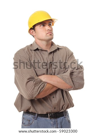Wondering construction worker isolated on white - stock photo