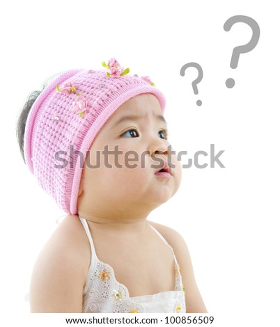 Wondering pan Asian baby girl with question mark isolated on white background - stock photo