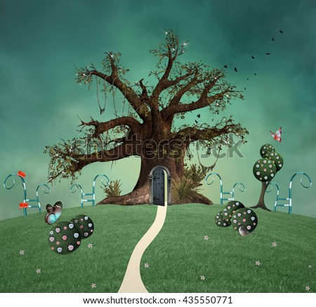 Wonderland green garden - 3D and digital painted illustration - stock photo