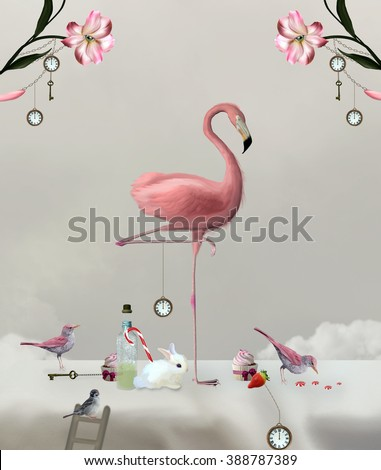 Wonderland series - Flamingo on a sweet table - stock photo