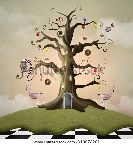Wonderland series - Tree of life house - stock photo