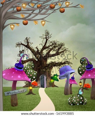 Wonderland series - Wonderland garden - stock photo