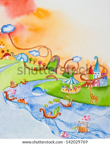 wonderland ' watercolor painting - stock photo