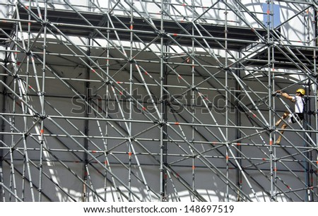 wonking costructing a stage - stock photo