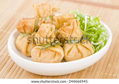 Wonton - Oriental deep fried wontons filled with vegetables. - stock photo