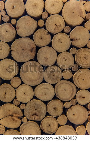wood, Abstract photo of a pile of natural wooden logs background - stock photo