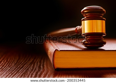 Wood and brass judges gavel standing upright on a law book conceptual of law enforcement and judgements in court - stock photo
