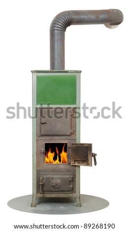 wood and coal fired burning masonry heater stove - stock photo