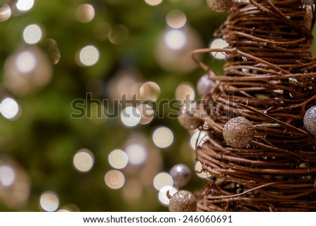 Wood and fiber Christmas Holiday Ornaments and decorations - stock photo
