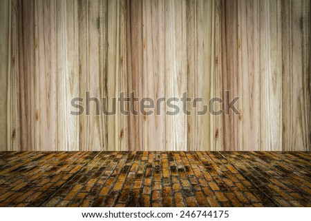 wood and grunge background, red brick wall texture bright plaster wall and blocks road sidewalk abandoned exterior urban background for your concept or project - stock photo