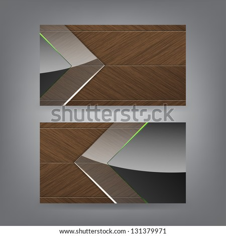 Wood and neon glass theme business card template (Part 4) (Raster from vector) - stock photo