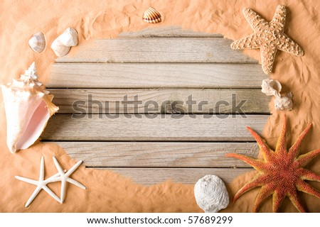 wood and sand background - stock photo