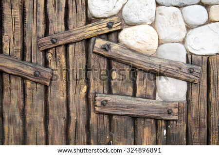 Wood and stone                      - stock photo