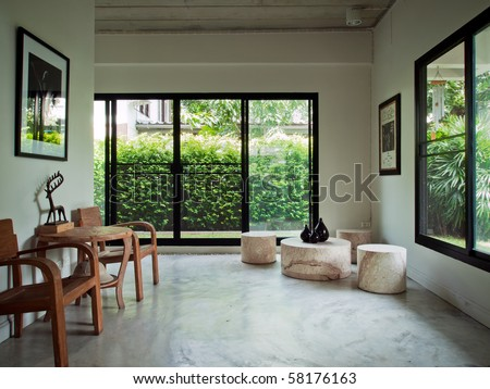 wood armchair in white home interior - stock photo