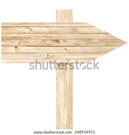 Wood arrow sign isolated on white background