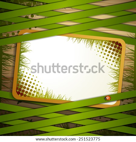 Wood background with green strips - stock photo